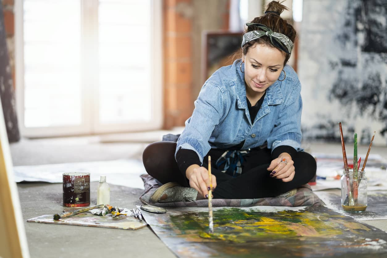 A woman rediscovering her passion for painting