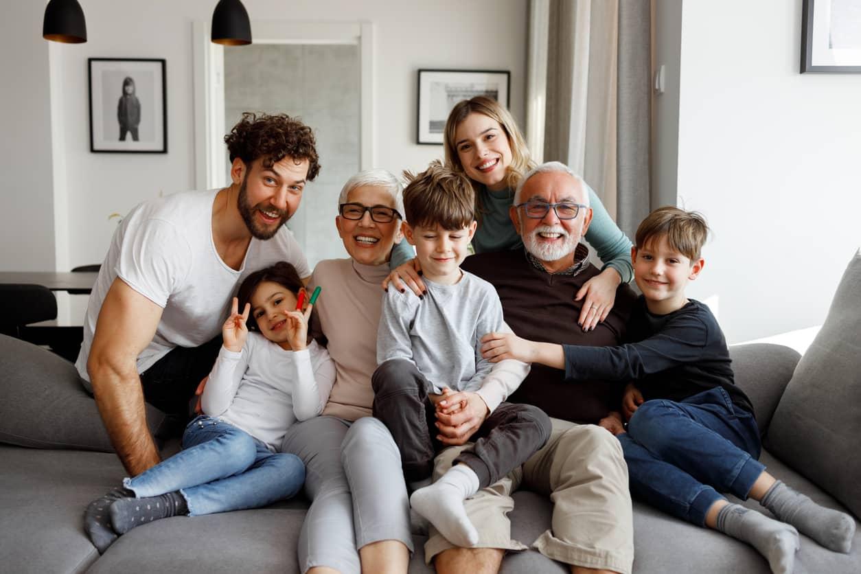 Big blended family enjoying time together