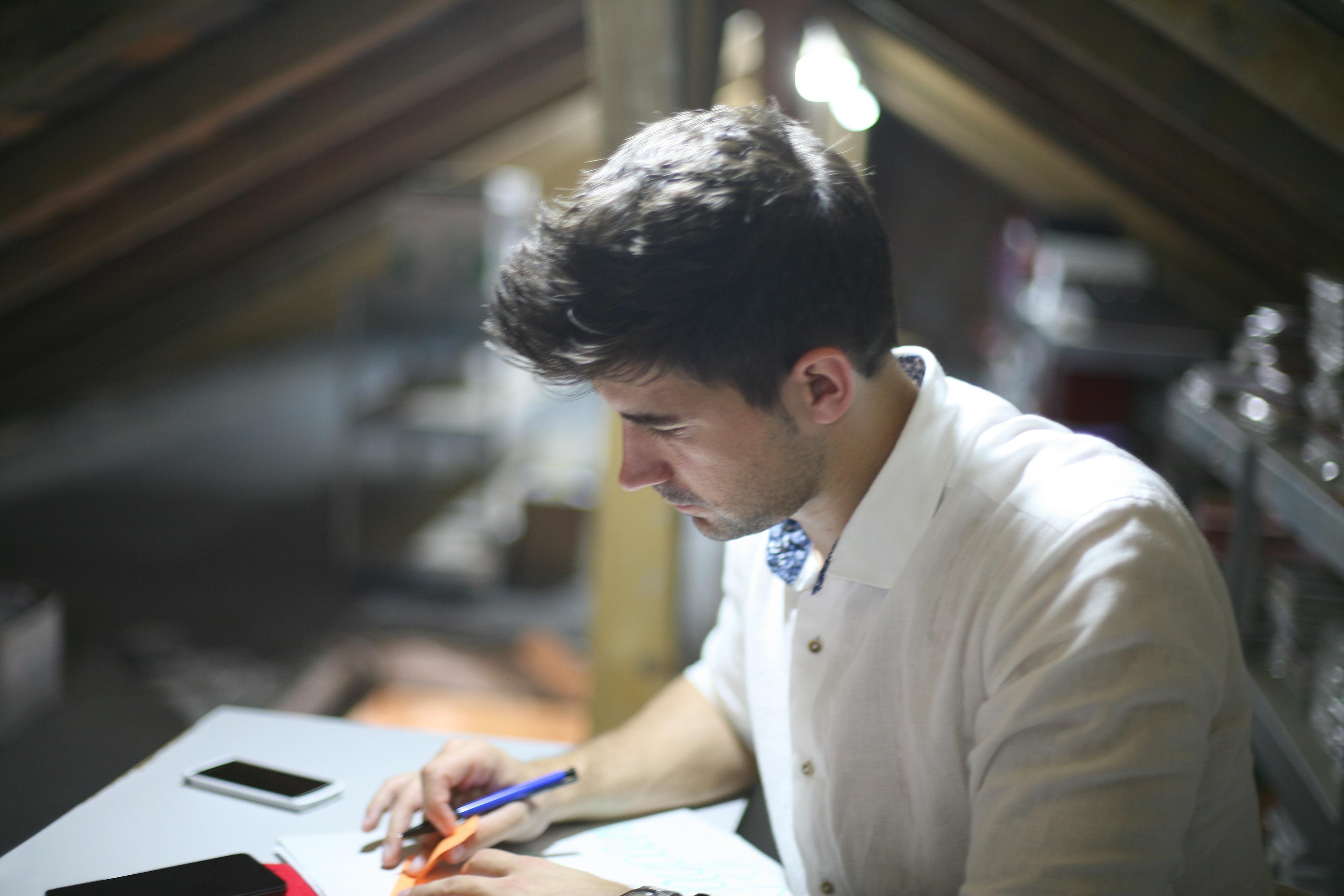 Businessman working hard at his desk