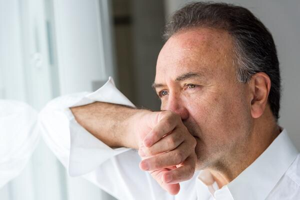 Older man self-calming himself
