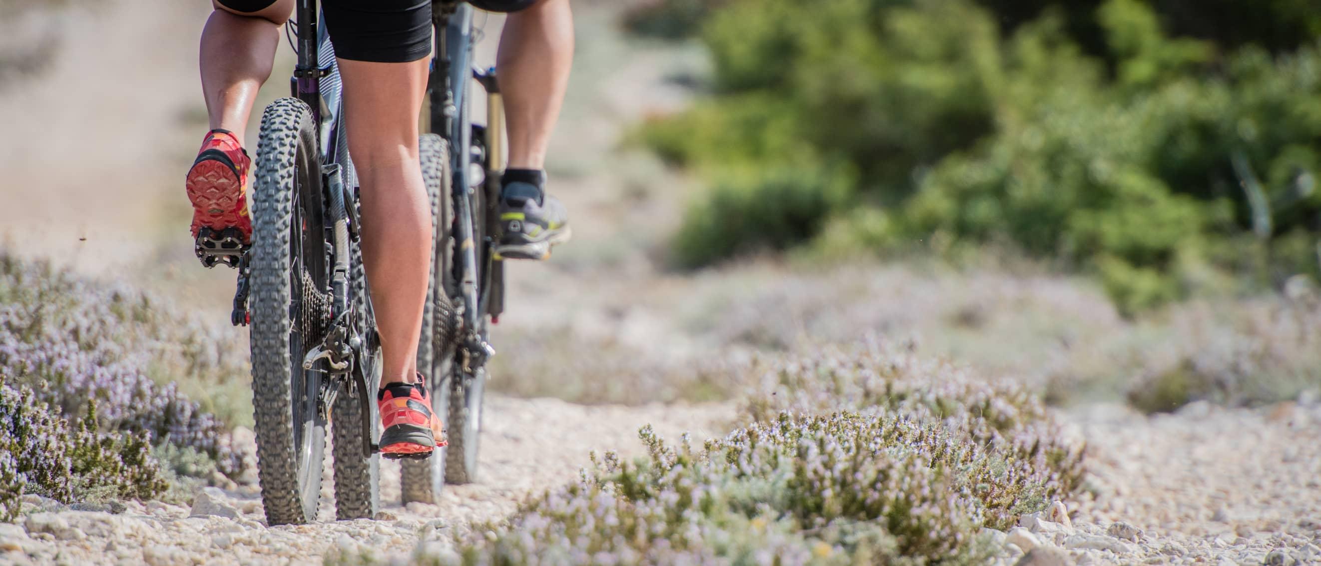 Couple mountain biking along a trail