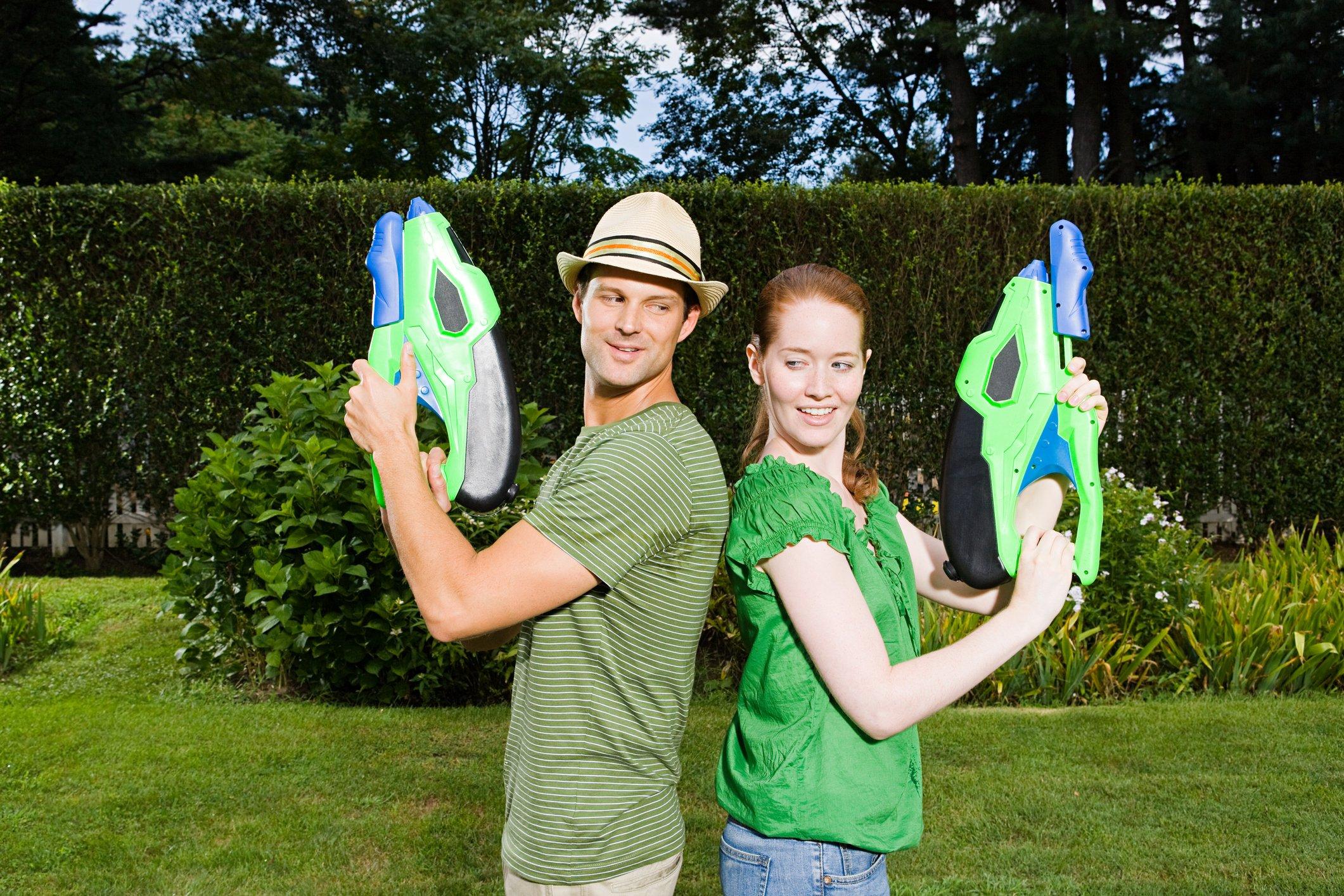 Couple playfully having summer fun