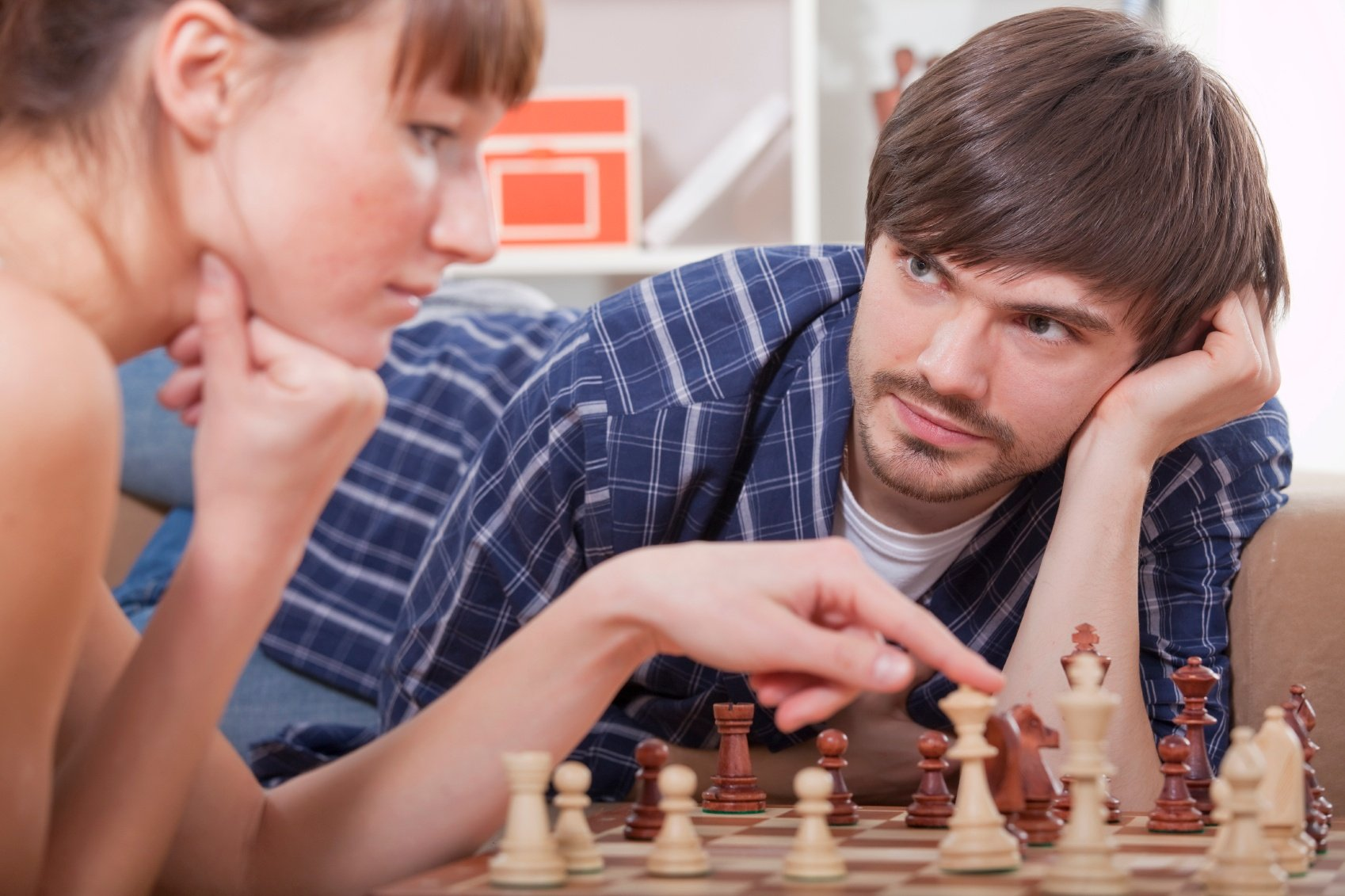 A couple playing chess