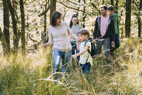 A family on a hike in the woods