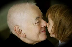 An example of mirroring, a Grandpa and preschool child rubbing noses
