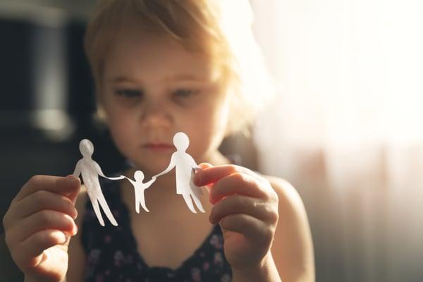 Little girl sad about her parents divorcing