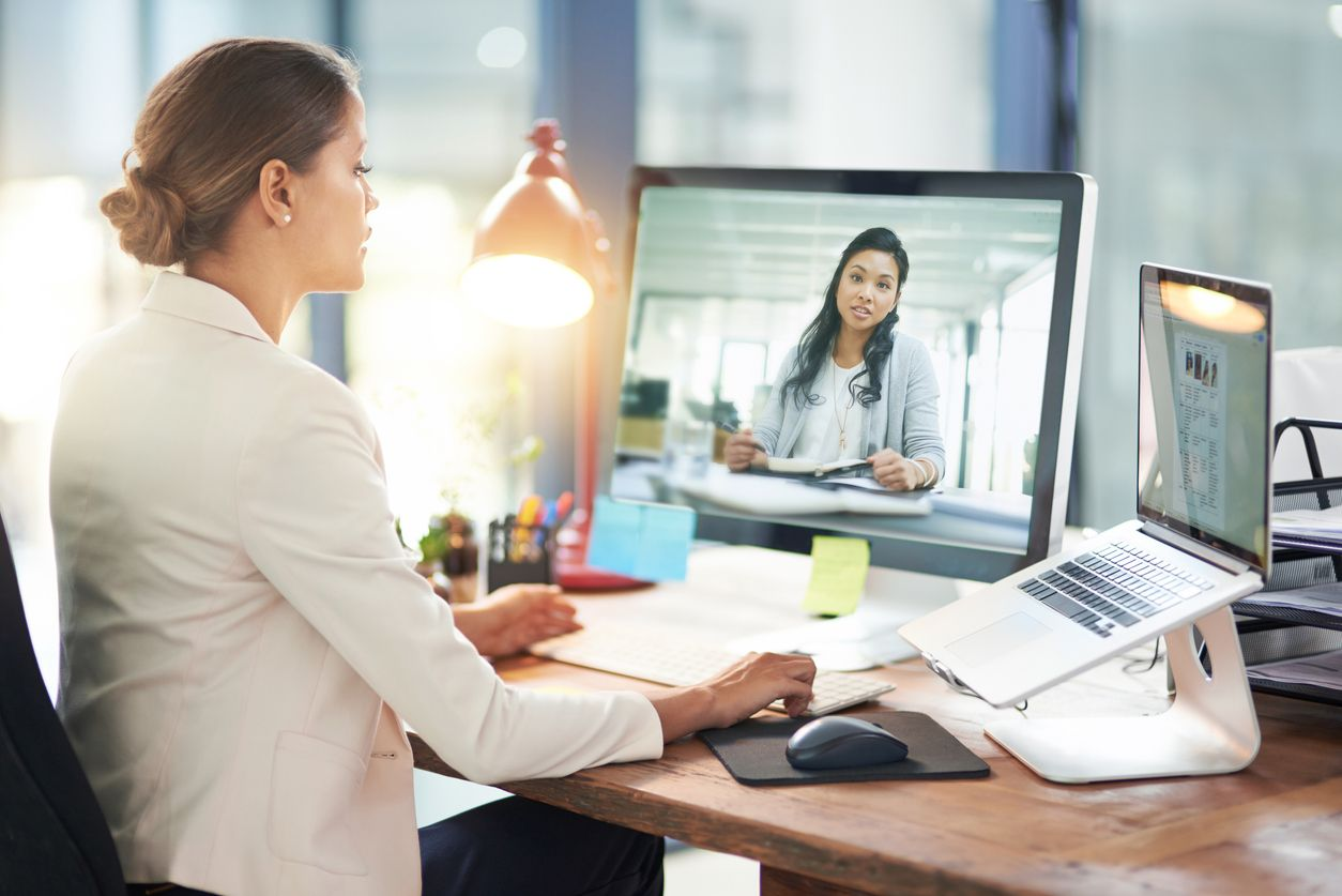 Two women holding a virtual meeting