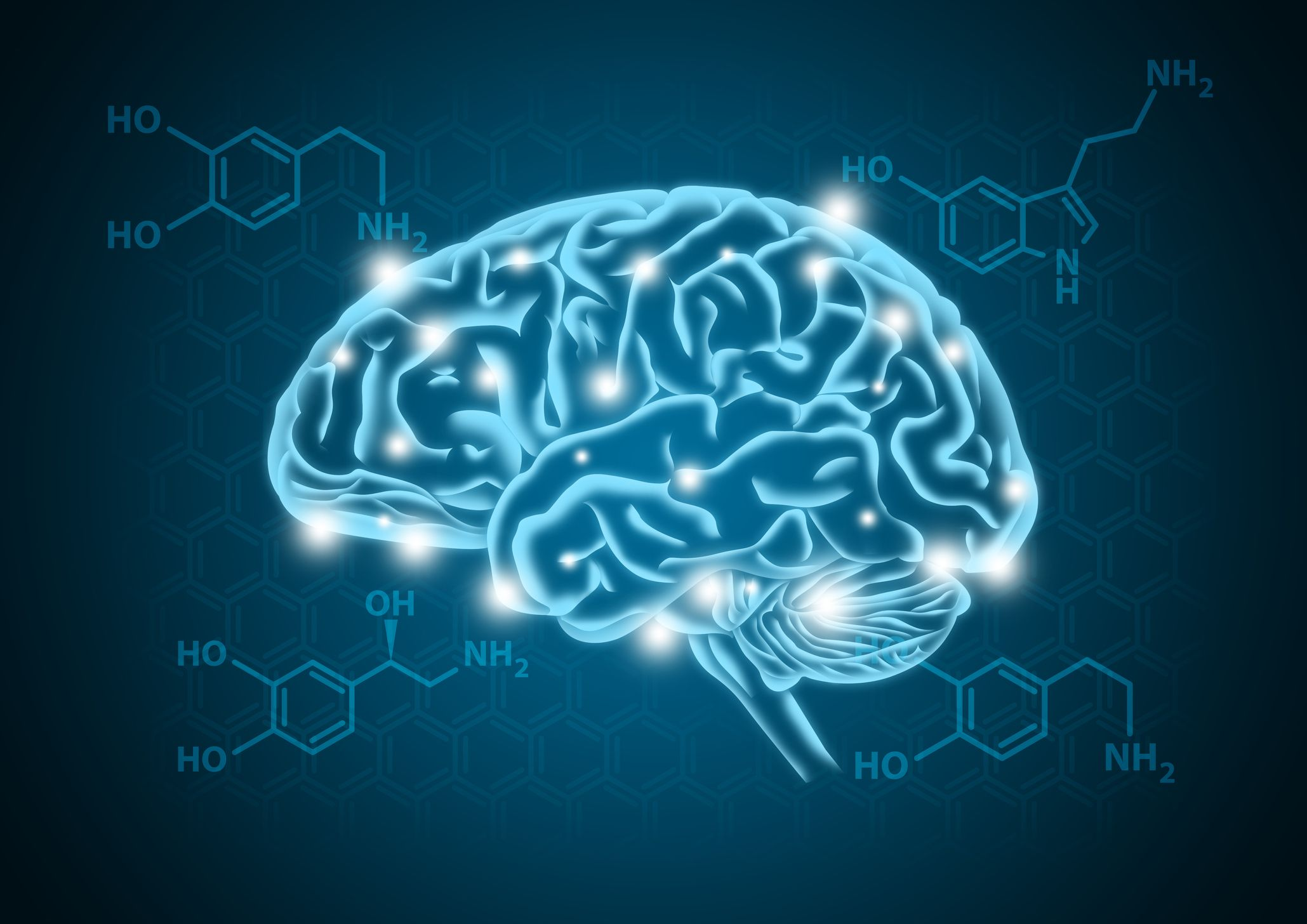 Depiction of a brain and neurotransmitter Dopamine