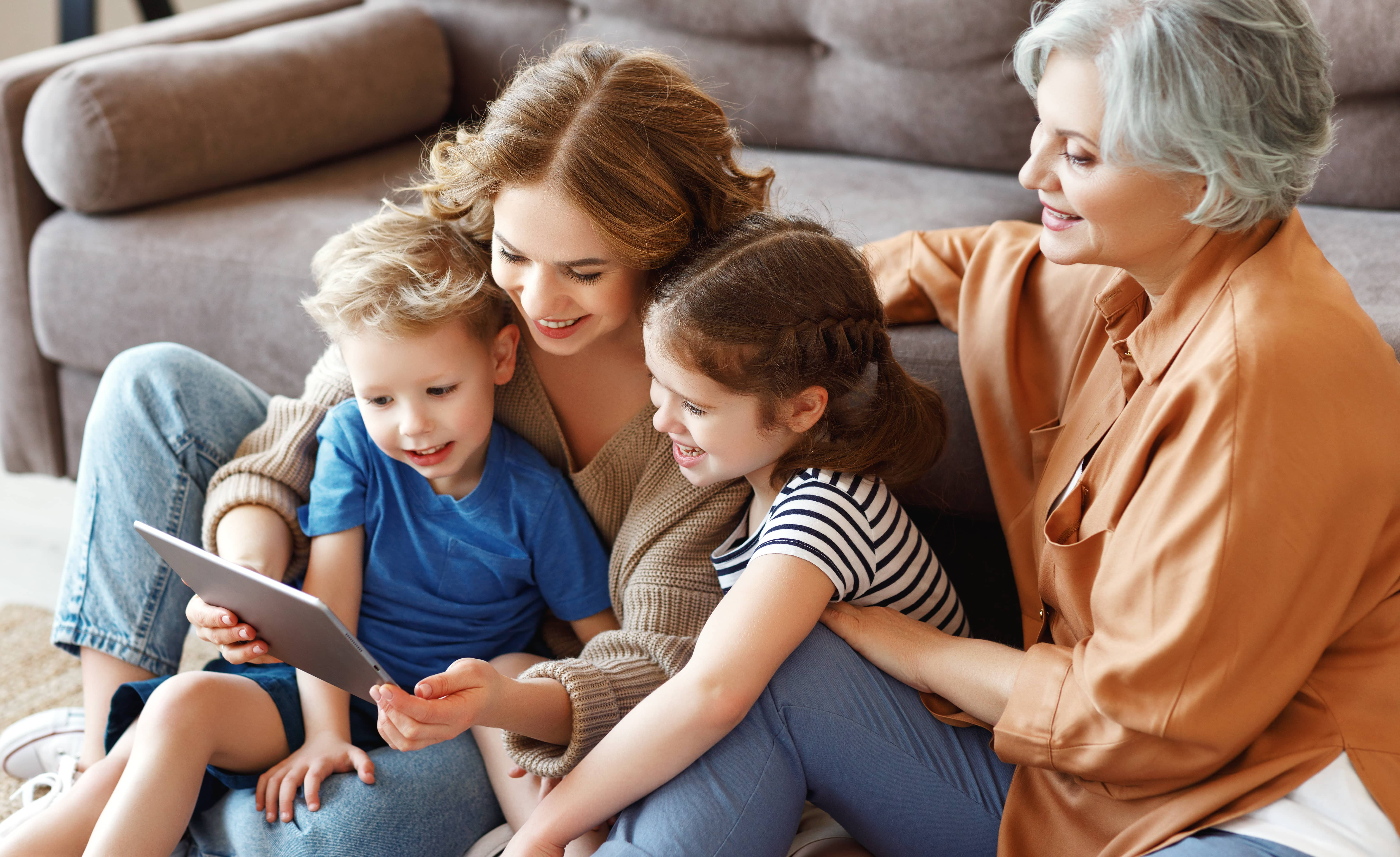 Blended family together on an iPad