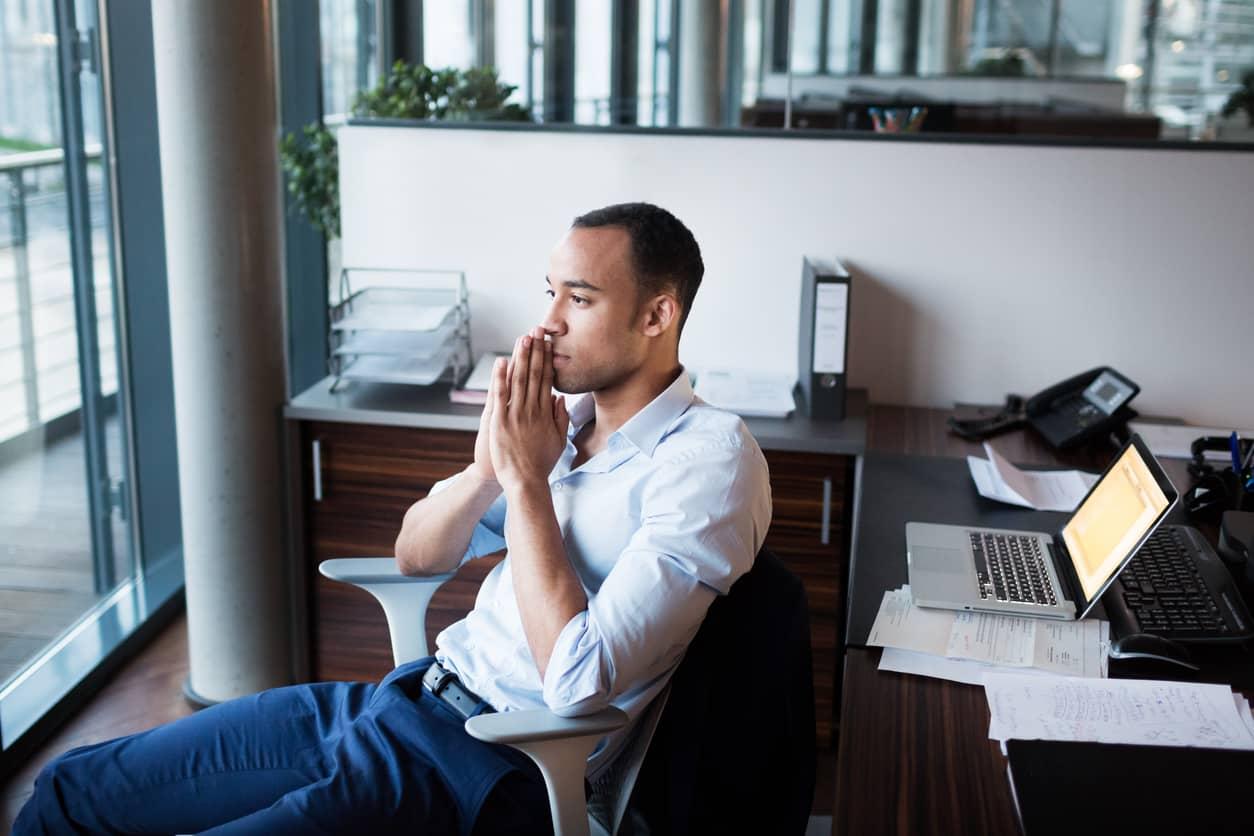 Pensive man contemplating and gaining self-awareness