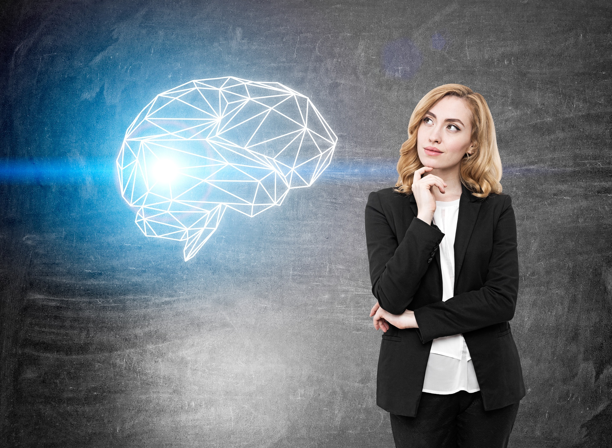 Woman considers rewiring her brain through a mindfulness practice