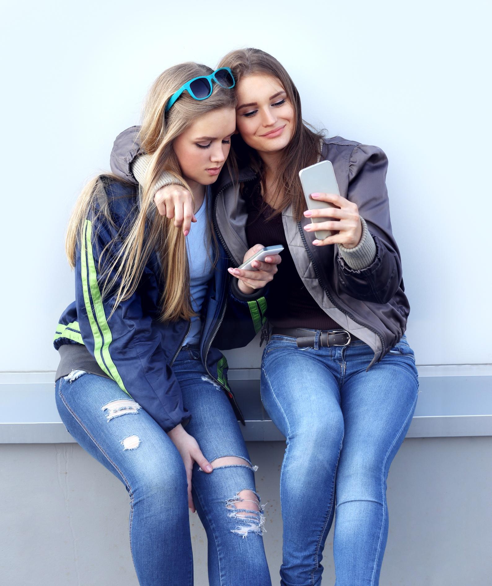 Selfie closeup of two friends