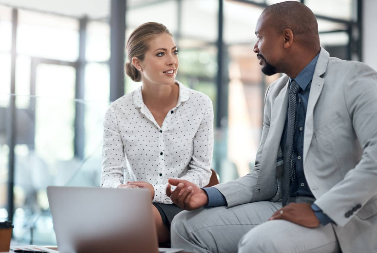 An authentic leader giving feedback to an employee