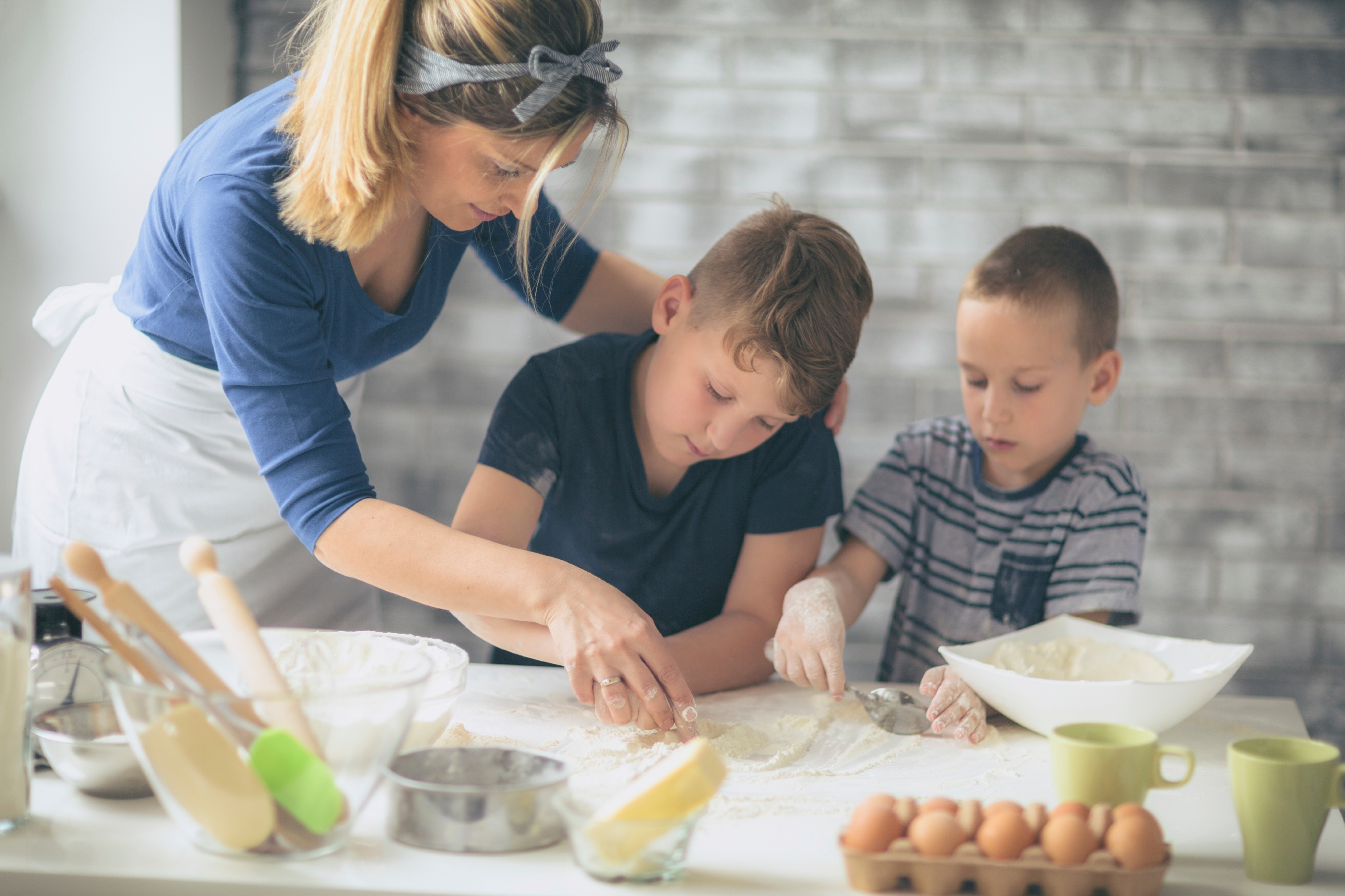 Mother doing a cooking activity together