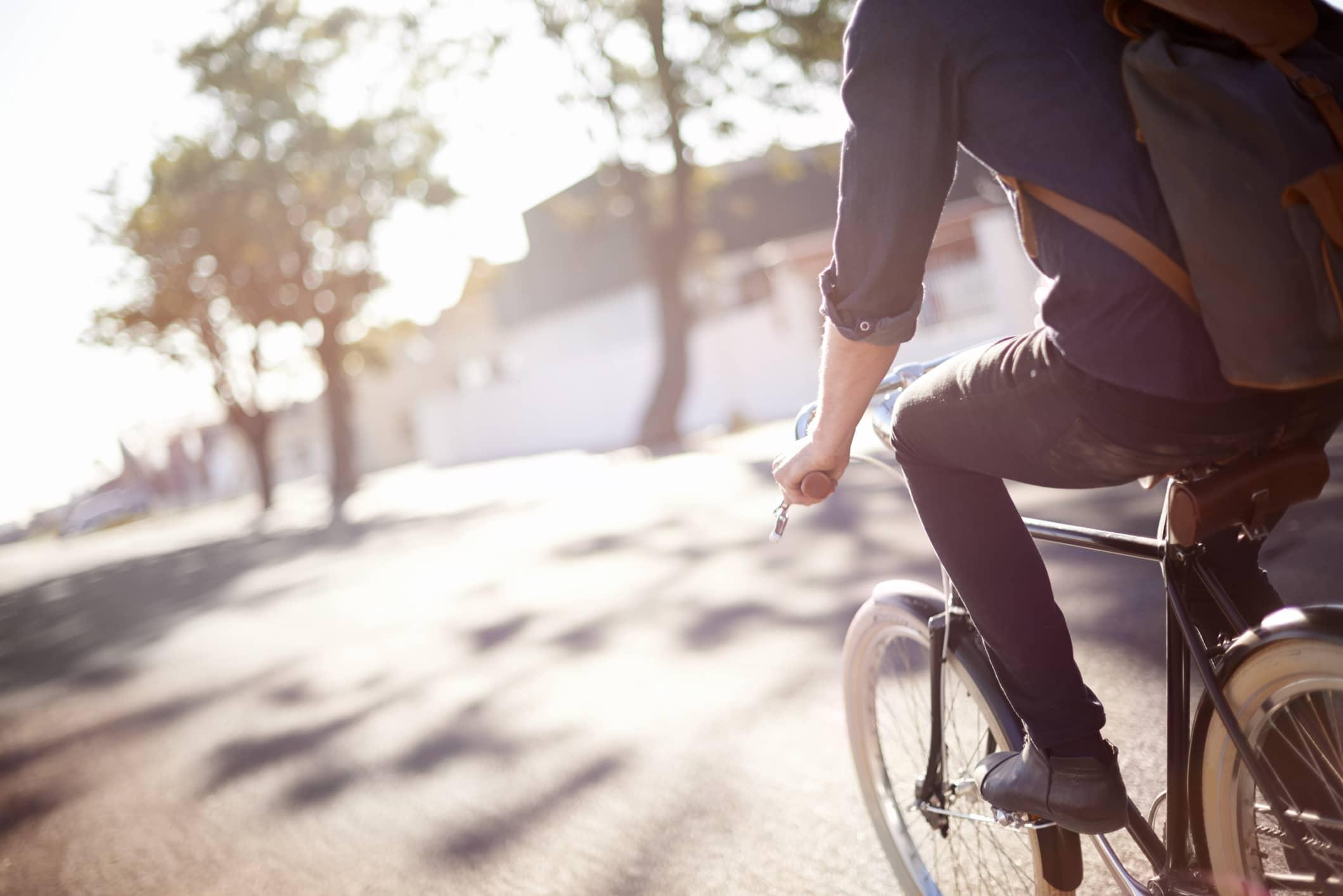 Entrepreneur de-stressing while riding his bike