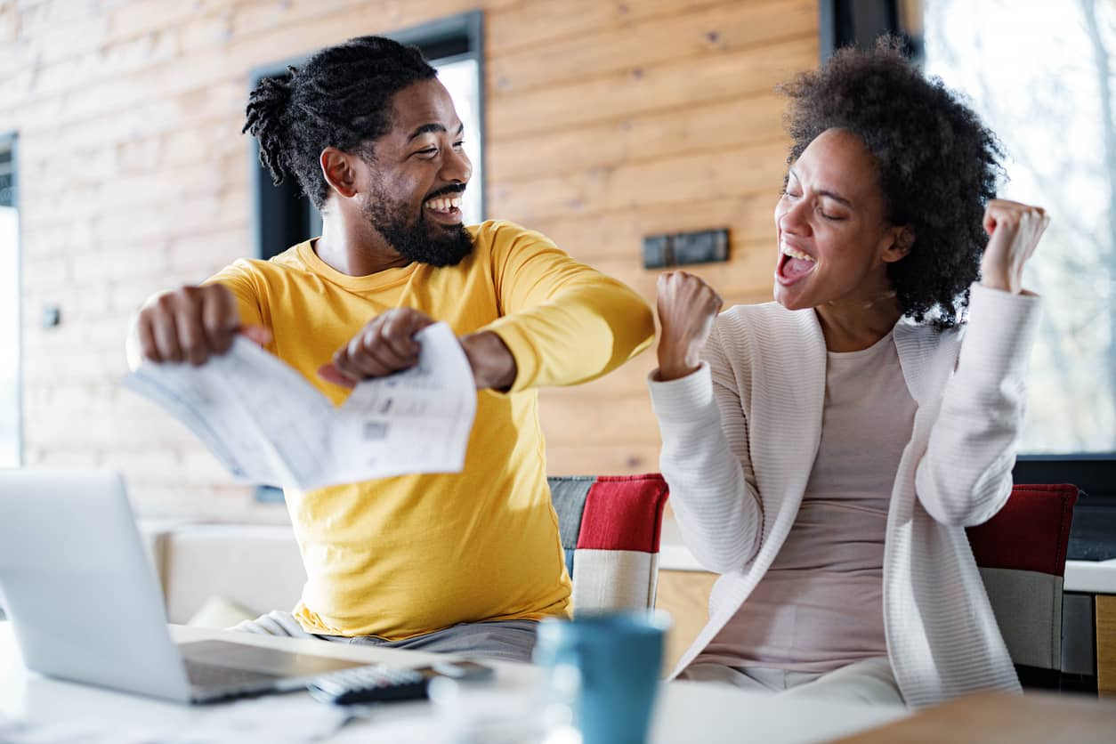 Black couple thrilled to have paid off their credit cards