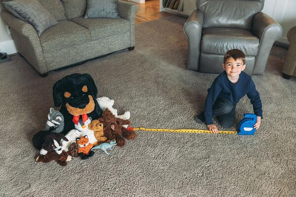A preschooler measuring social distancing with his stuffed animals