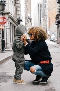 A beautiful black mother connecting with her son