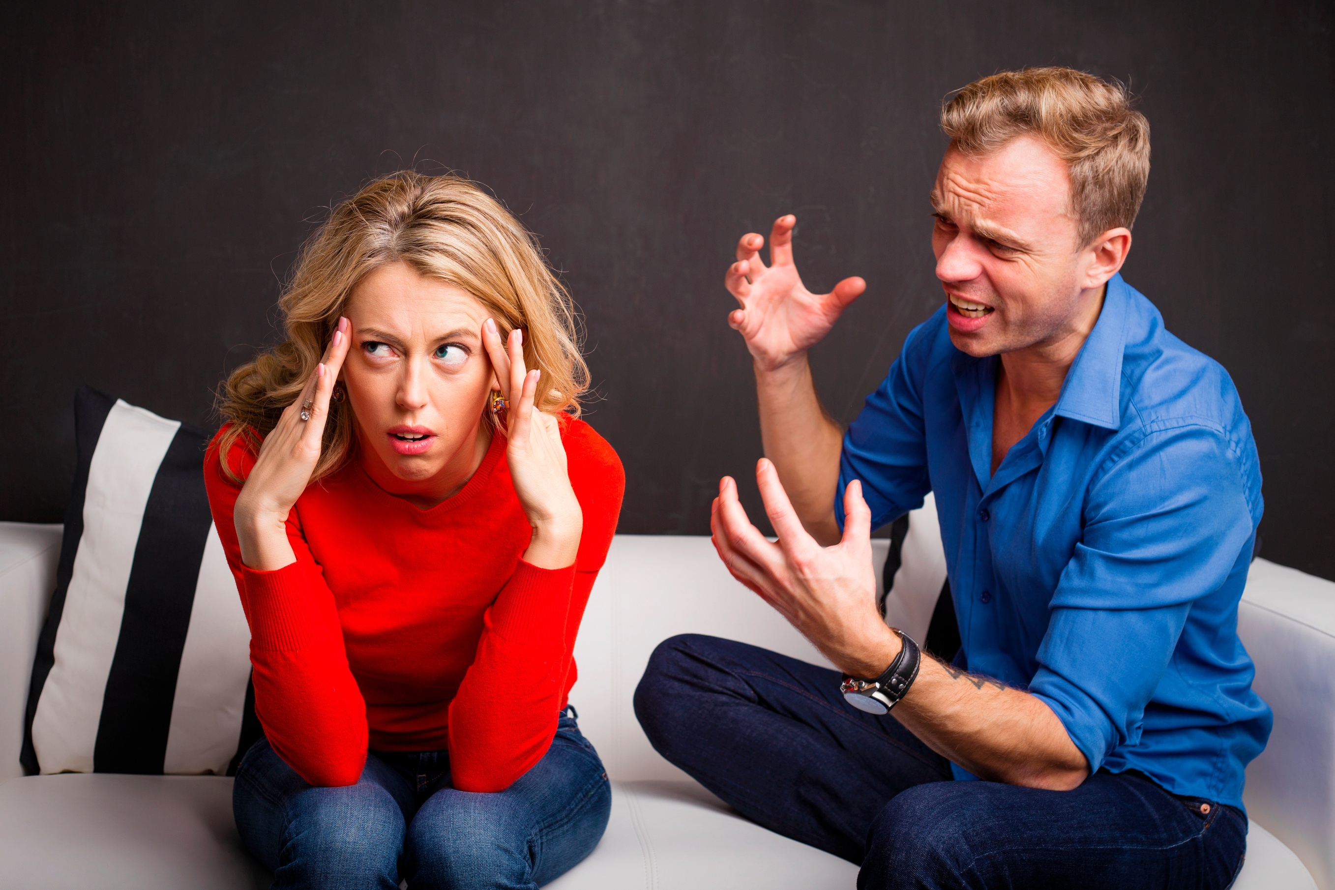 Husband angry and frustrated with his wife